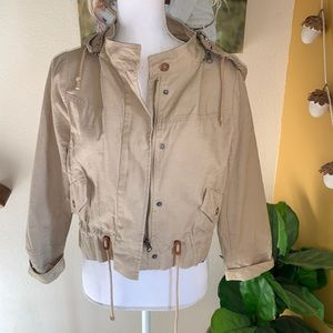 Anthropologie Elevenses khaki cropped jacket MP